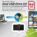 SanDisk Ultra 64GB USB 3.0 OTG Flash Drive With micro USB connector For Android Mobile Devices- SDDD2-064G-G46-6
